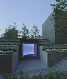 Exterior view of Turrell's skyspace, Tending, (Blue)