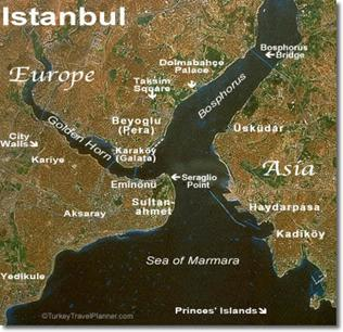 Istanbul From Space with Place-Names